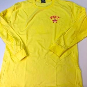 Obey Gold Mens Medium Long Sleeve 2-Sided T-Shirt